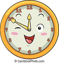 dwanaście, maskotka, zegar, po, pięćdziesiąt
