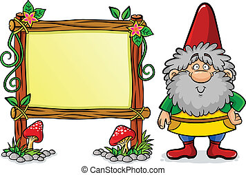 Dwarf - cartoon dwarf standing next to a decorated frame