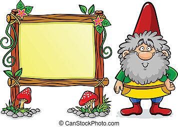 Dwarf - cartoon dwarf standing next to a decorated frame