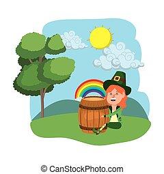dwarf girl holding beer barrel