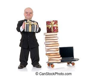 dwarf internet shopping - Little man, dwarf businessman ...
