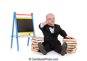 Dwarf, little man with books - Little man, dwarf teacher in...