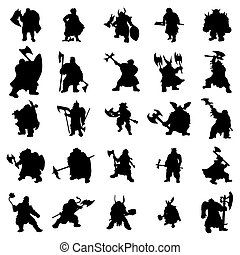 Dwarf silhouettes set isolated on white background
