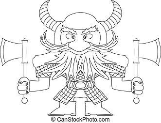 Dwarf warrior, contour - Dwarf warrior in armor and helmet...