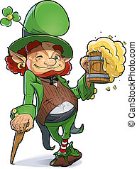 Dwarf with beer. Illustration for saint Patricks day. Eps10 vector illustration. Isolated on white background