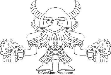 Dwarf with beer mugs, contour - Drunken dwarf warrior in...
