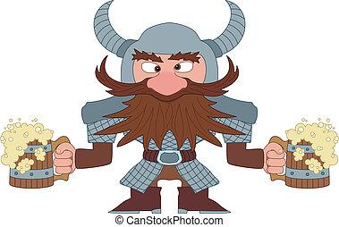 Dwarf with beer mugs - Drunken dwarf warrior in armor and...