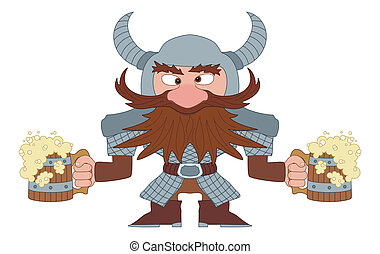 Dwarf with beer mugs