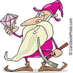 Dwarf with diamond - Cartoon illustration of dwarf with...