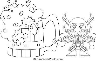 Dwarf with great beer mug, contour