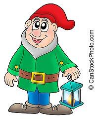 Dwarf with lantern - color illustration.