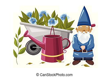 Dwarf with watering can and wheelbarrow full of blue flowers