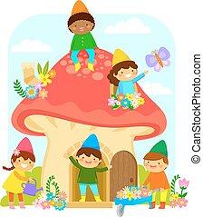 dwarfs in a mushroom house