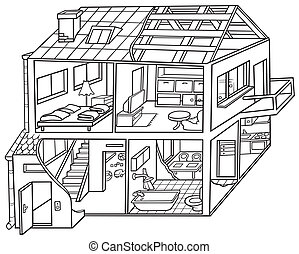 Dwelling House - Black and White Cartoon illustration, Vector
