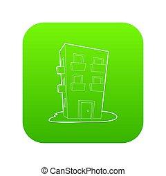 Dwelling house icon green