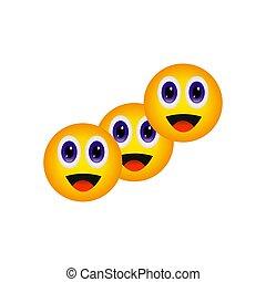 dwojaczki, wyrażenia, uśmiechanie się, sprytny, emoji, emoji., trzy