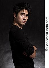 dwudziestki, jego, asian obsadzają, przystojny