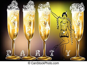 dwudziestki, partia, szampan