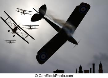 dwupłatowiec, miasto, na, walka samolotów w powietrzu