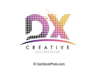 dx, d, x, letra, logotipo, desenho, com, magenta, pontos, e,...
