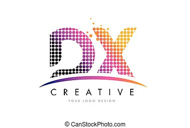 DX D X Letter Logo Design with Magenta Dots and Swoosh - DX...
