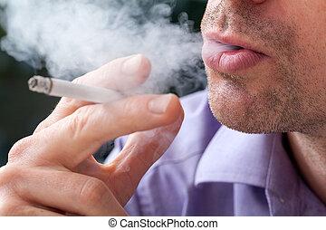 dychając, dym, poza
