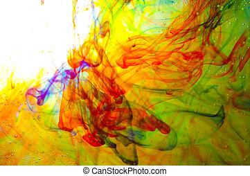 dye in water - colored dye in a water as a psychodelic...