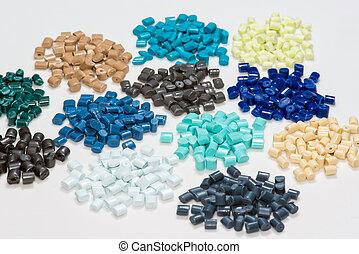 dyed plastic pellets