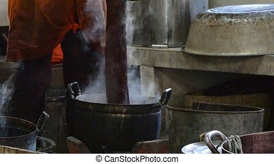 silk factory - dyeing process in a silk factory