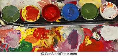 Painter's dyes palette-upper view.