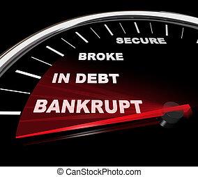 dyk, -, finansiell, hastighetsmätare, bankrutt