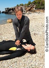 dykker, redning