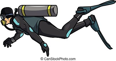 dykker scuba, illustration, vektor