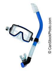 dykning, goggles, med, snorkel, vita