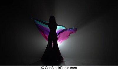 dym, sihouette, shawl., taniec, taniec, wzdryga się, czarnoskóry, brzuch, tło, dziewczyna