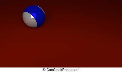 Dynamic 3d rendered shot of pool table balls on a red surface.