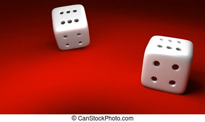 Dynamic 3d shot of dice falling on a red surface. 3d ...