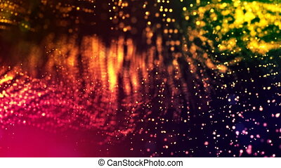 dynamic abstract background of glowing particles with shining bokeh sparkles. Dark multi colored composition with oscillating luminous particles. Science fiction. Smooth animation looped. 1