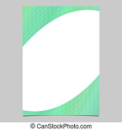 Dynamic abstract geometrical green gradient curved grid pattern flyer template - vector document background design
