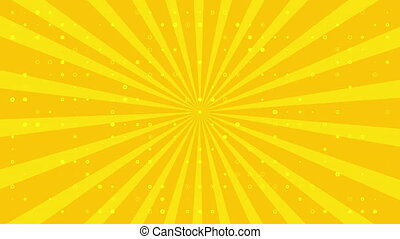 Dynamic animated background with pulsating white circles and sun on yellow background are changed size with perspective motion. looped animation