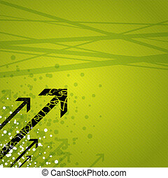 Dynamic arrows on green - Layered vector illustration of...