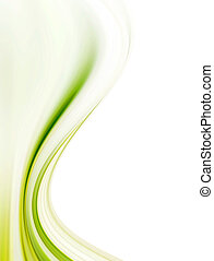 Green dynamic and soft waves over white background