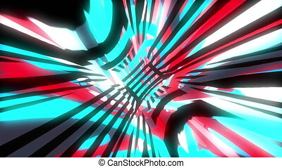 Dynamic bright glich video or effect of motion in the bright space, 3d render computer generated background