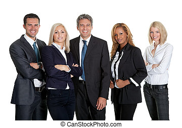 Dynamic business team on white background