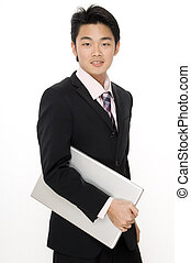 Dynamic Businessman - A young businessman on the move with a...