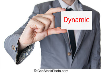 Dynamic. Businessman holding business card