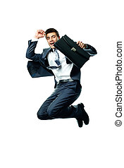 Dynamic businessman - Portrait of joyful businessman with...