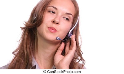 Dynamic Call Centre. - Dynamic shot of a girl working in a...