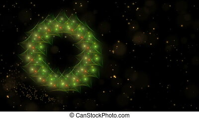 Dynamic Christmas wreath, green, red and golden with stardust, dots of light, starry motion on black
