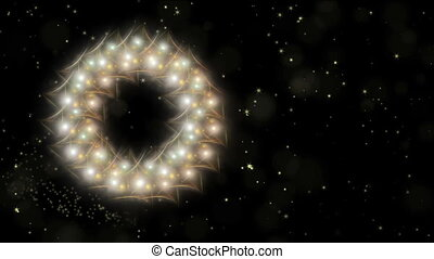 Dynamic Christmas wreath, white and golden with stardust, dots of light, starry motion on black